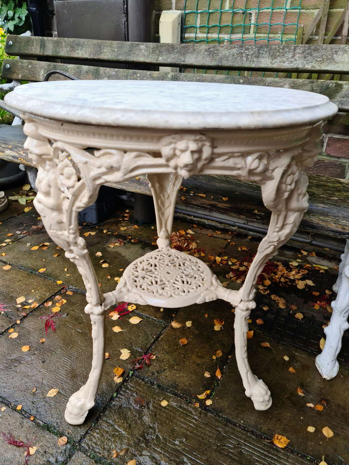 Victorian Garden Table with Marble Top