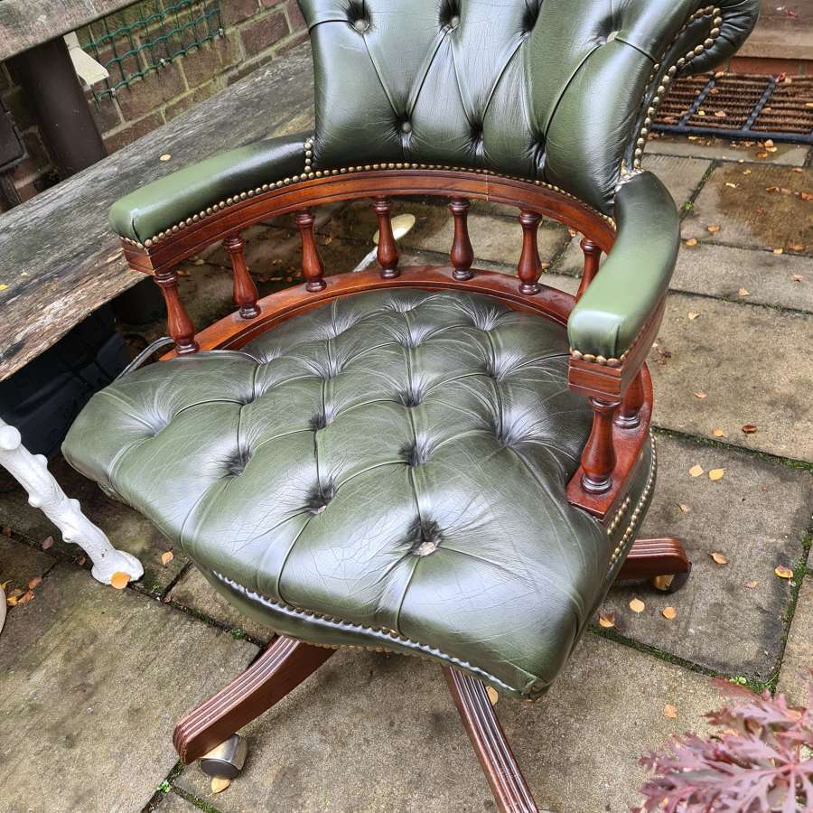 Handsome Example of a Leather Captains Chair/Desk Chair
