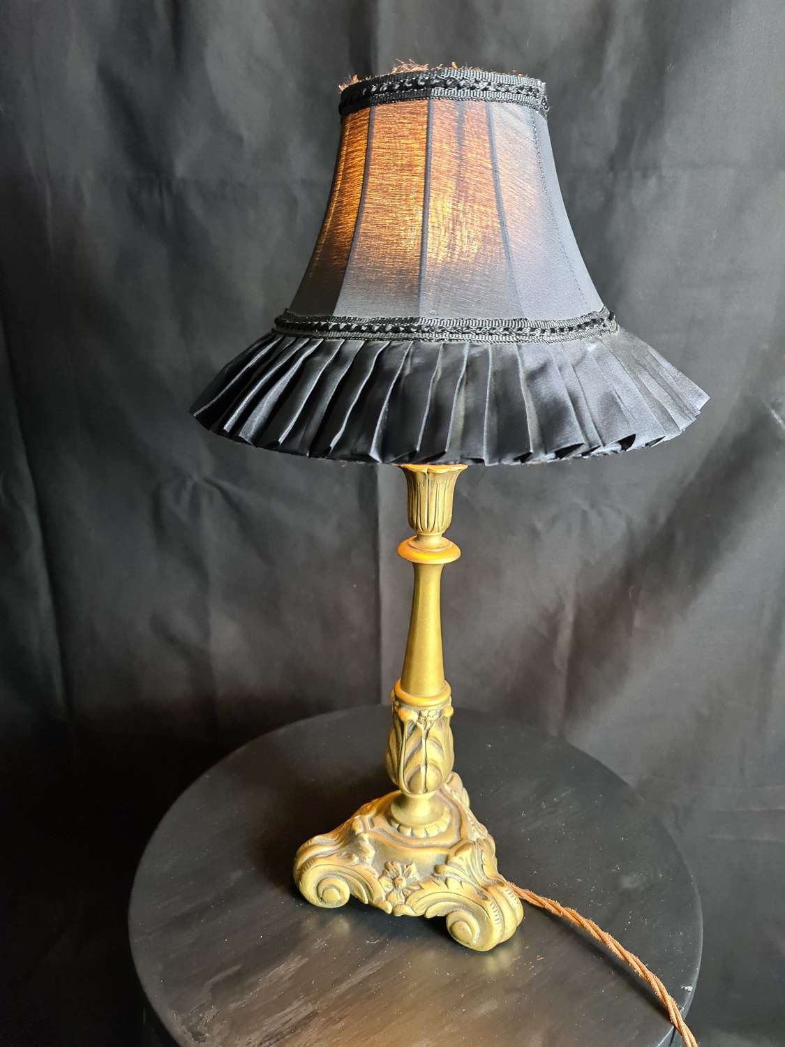 A Small Brass Art Nouveau Style Table Lamp
