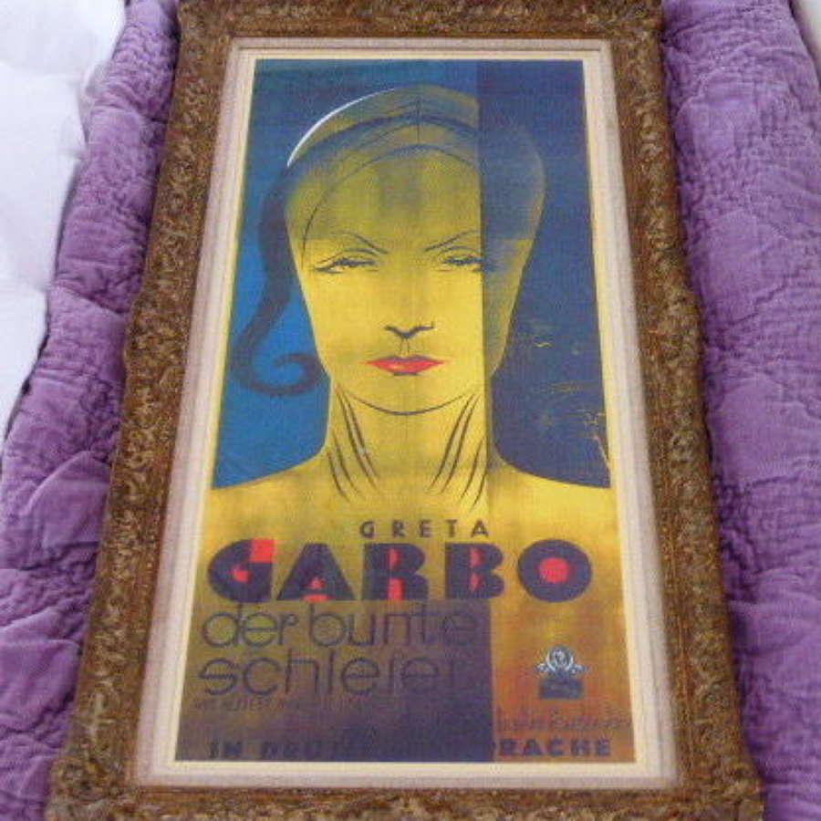 """Art Deco """"Greta Garbo"""" Framed Poster Print."""
