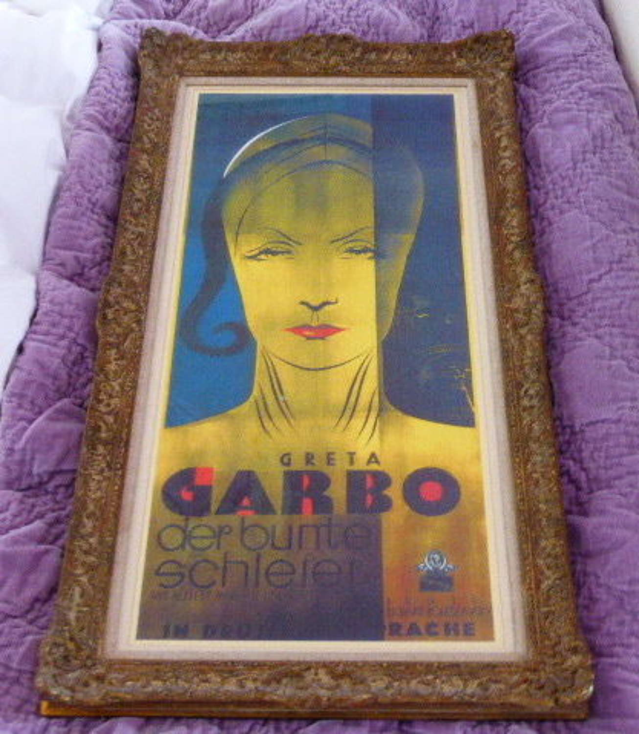 "Art Deco ""Greta Garbo"" Framed Poster Print."