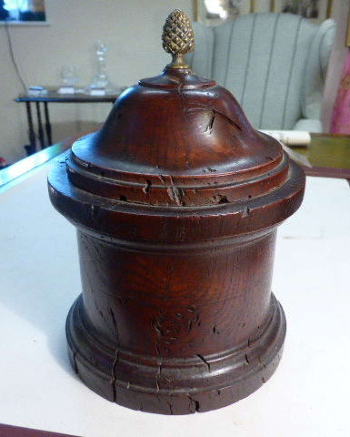 Small Round Oak Jar with Brass Finial.  18th c.