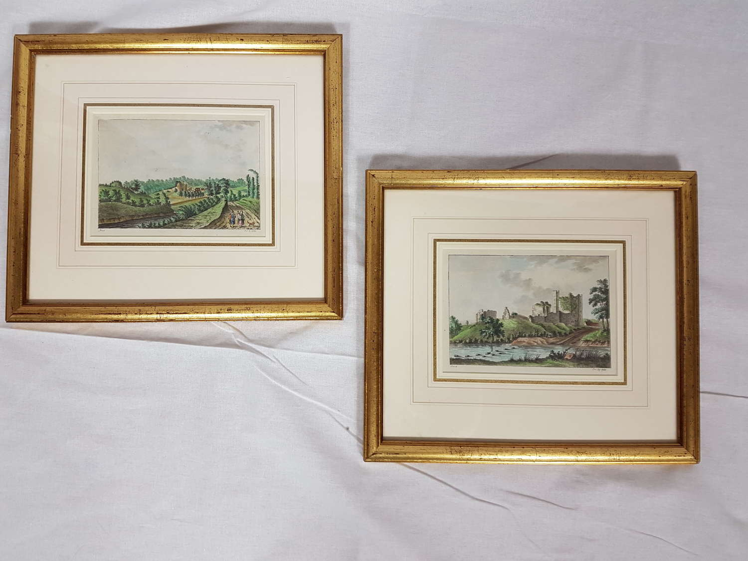 A Pair of 18thc signed, Hand Coloured Etchings - Local Views.