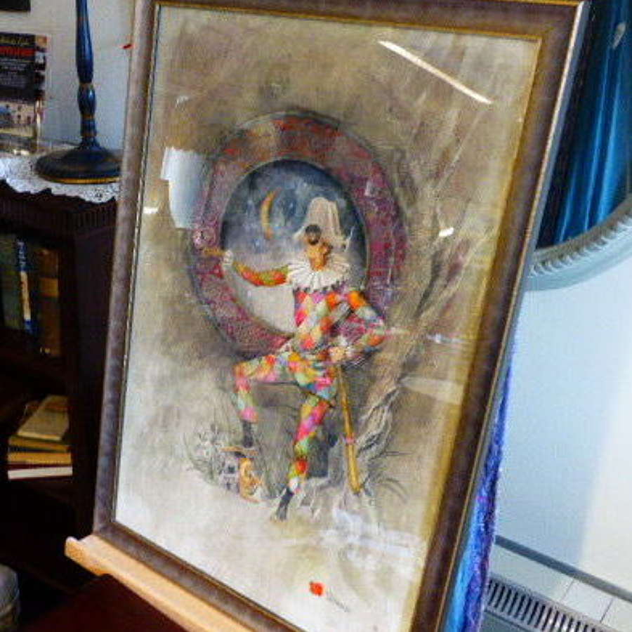 Beautiful Original Watercolour of Harlequin by a Window.