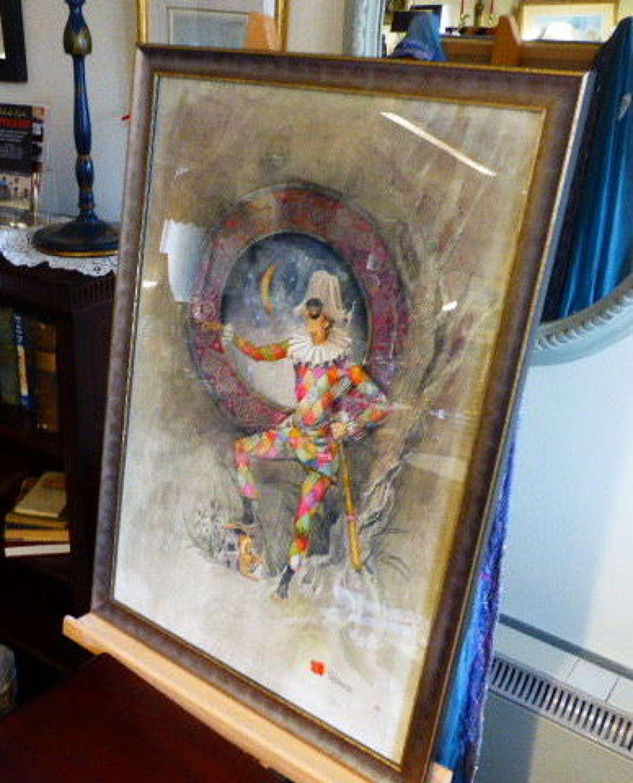 Beautiful Original Watercolour of Harlequin by a Window.
