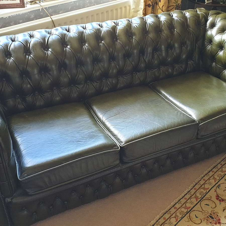 Fine Quality Green Leather Chesterfield.  c.1960.