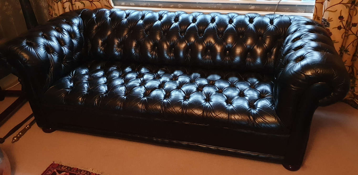 Handsome Black Leather Chesterfield