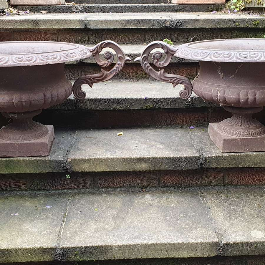 Large Pair French 19th Century Victorian Cast Iron Urns
