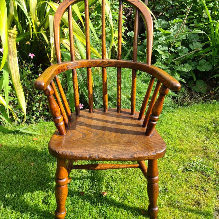 19th Century Ash and Elm Childs Windsor Chair