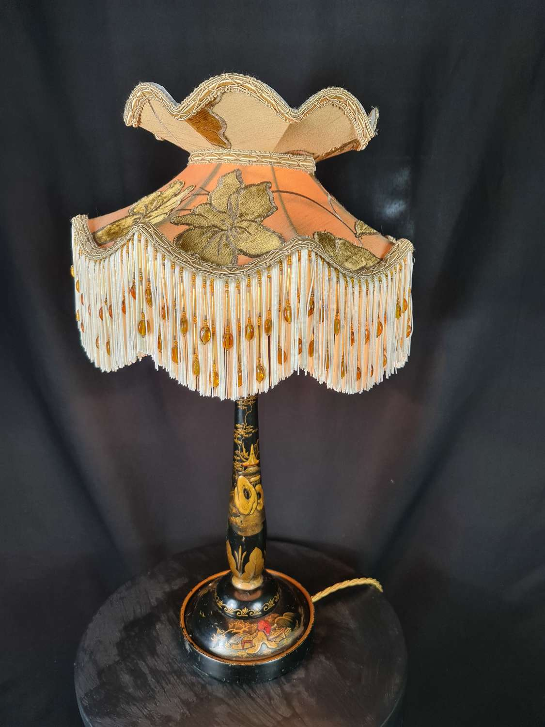 Lacquered Chinoiserie Table Lamp with Hand made Silk Shade