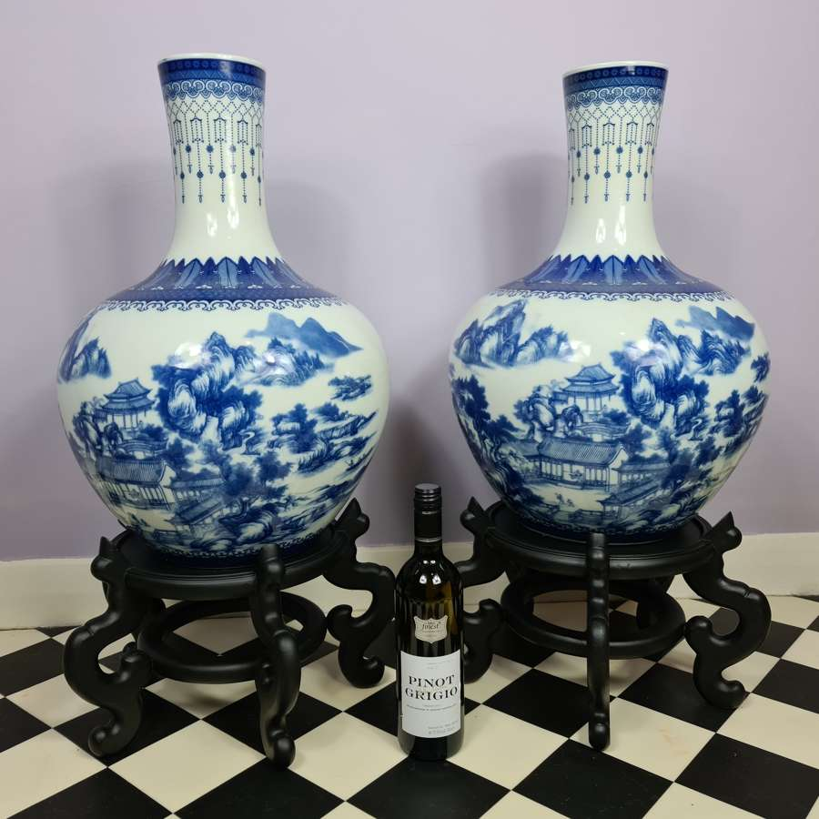 Huge Pair of 20th Century Chinese Blue and White Vases