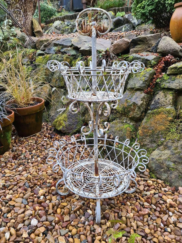 French Two Tier Wire Garden flower Basket