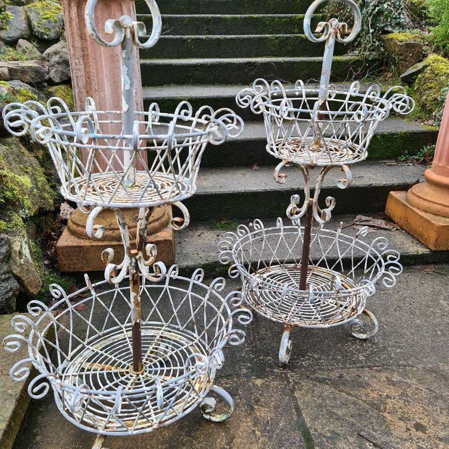 Pair of French Two Tier Wire Garden flower Baskets