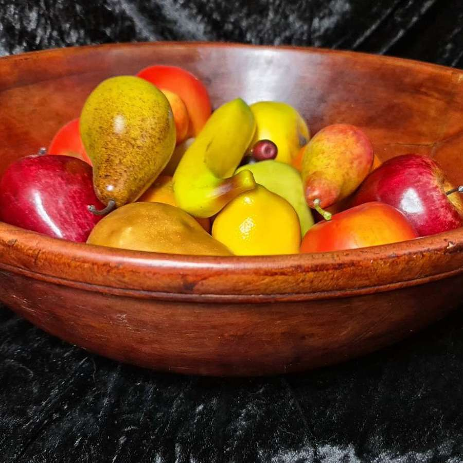 Handsome 19th C Large Sycamore Dairy Bowl