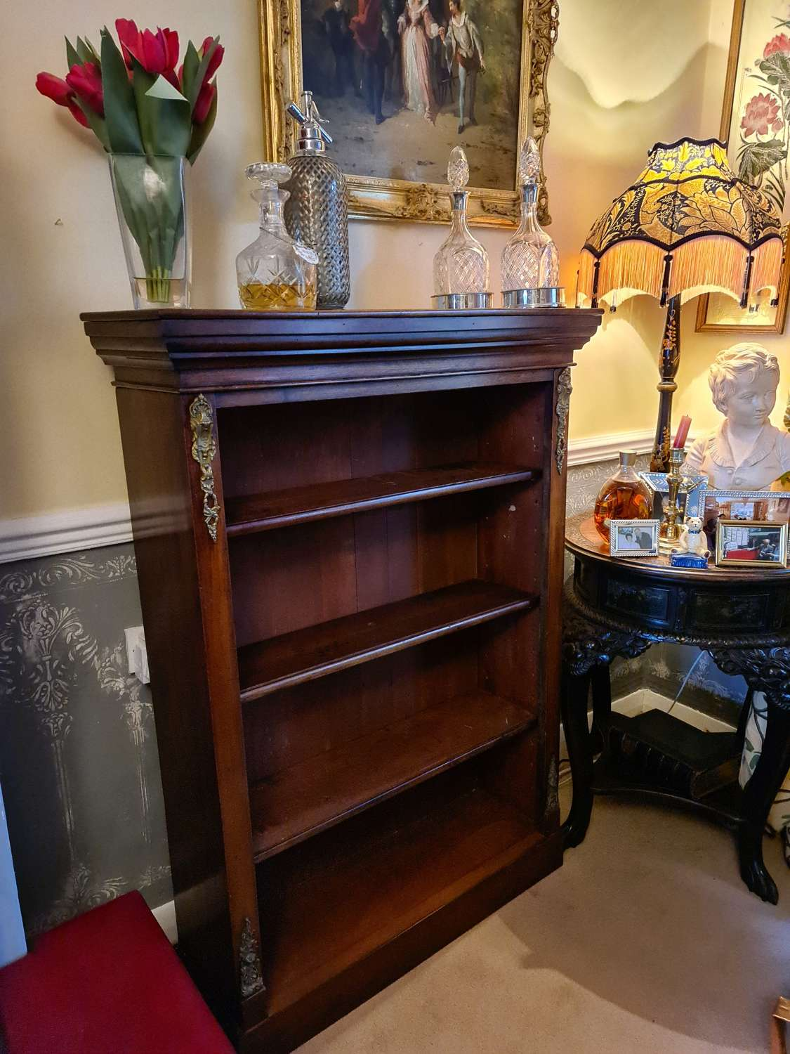 Victorian Mahogany Open Bookcase with Adjustable Shelves