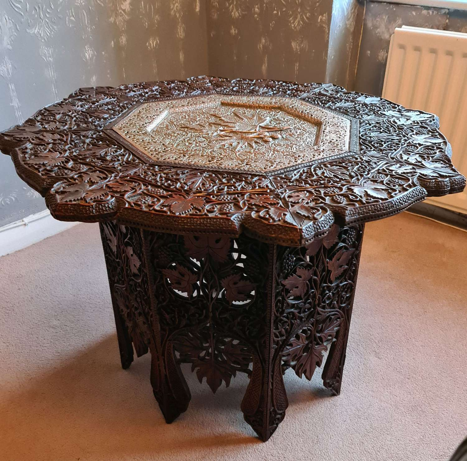 Beautifully carved Anglo-Indian Hardwood Table with Copper Insert