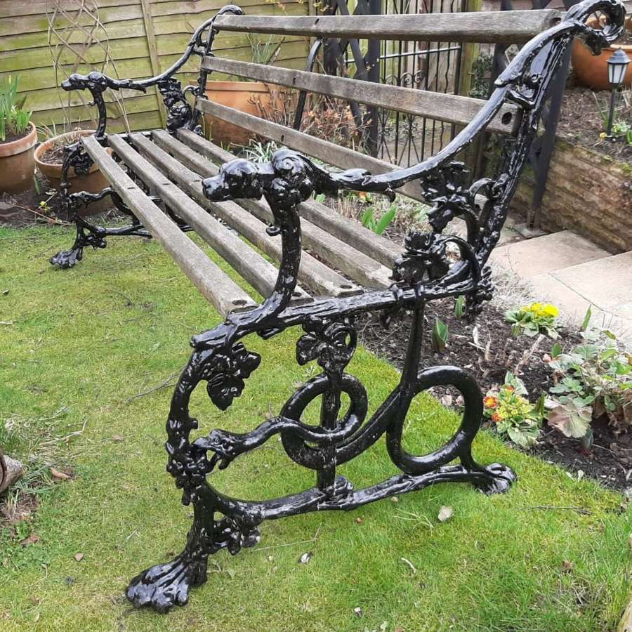 Handsome Garden Bench Dog and Serpent Pattern