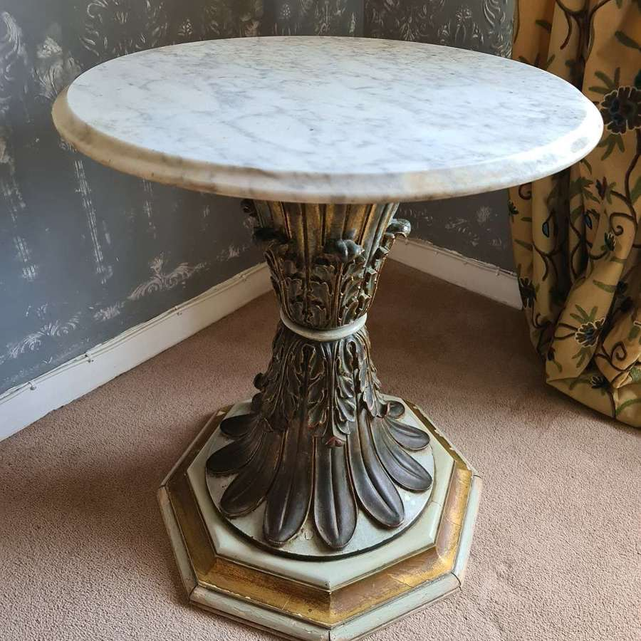 19thC Gothic Side Table with Victorian Marble Top