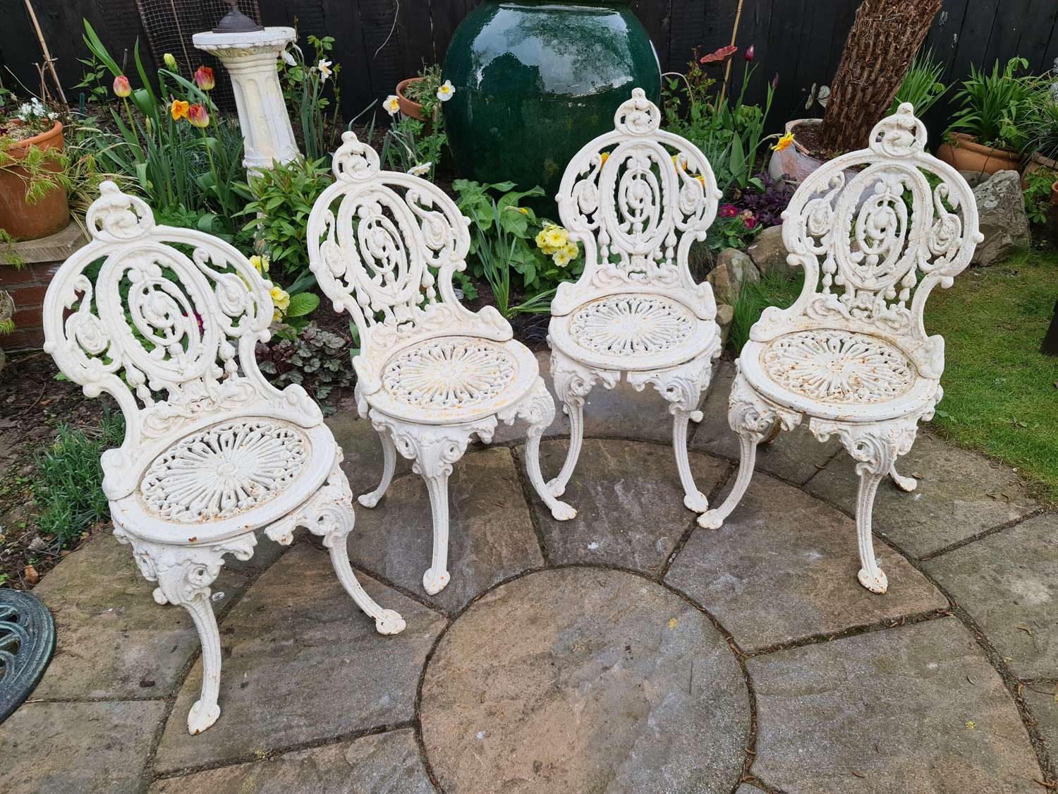 Early 20th Century Cast Iron Garden Chairs set of Four