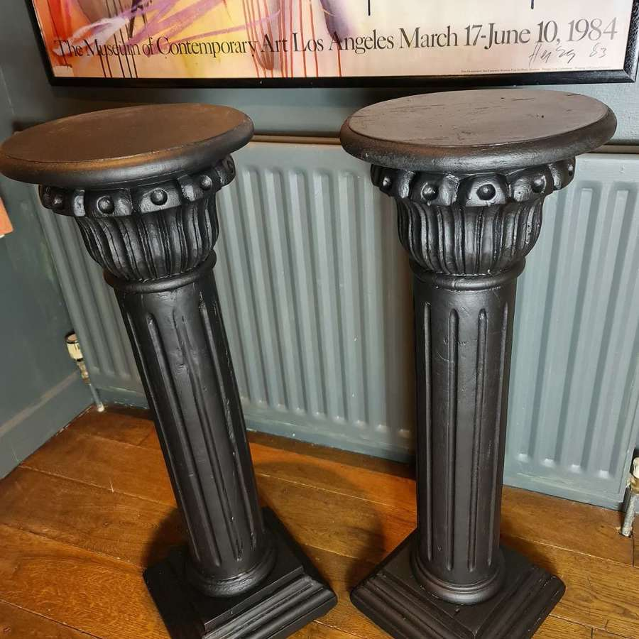 Pair of Wooden Painted Pedestals