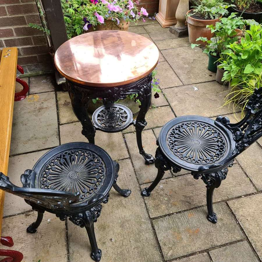 Cast-iron Garden Table with Copper Top and Garden Chairs