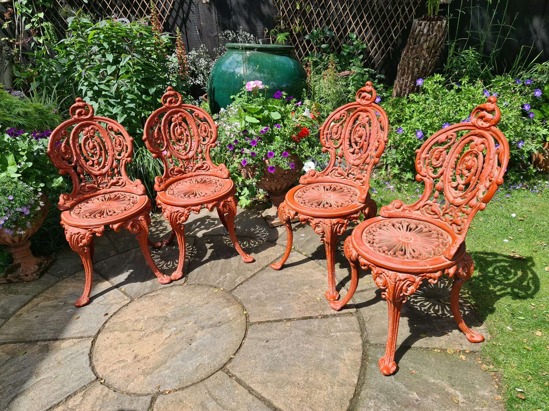 Wonderful set of Four Cast-iron Garden Chairs