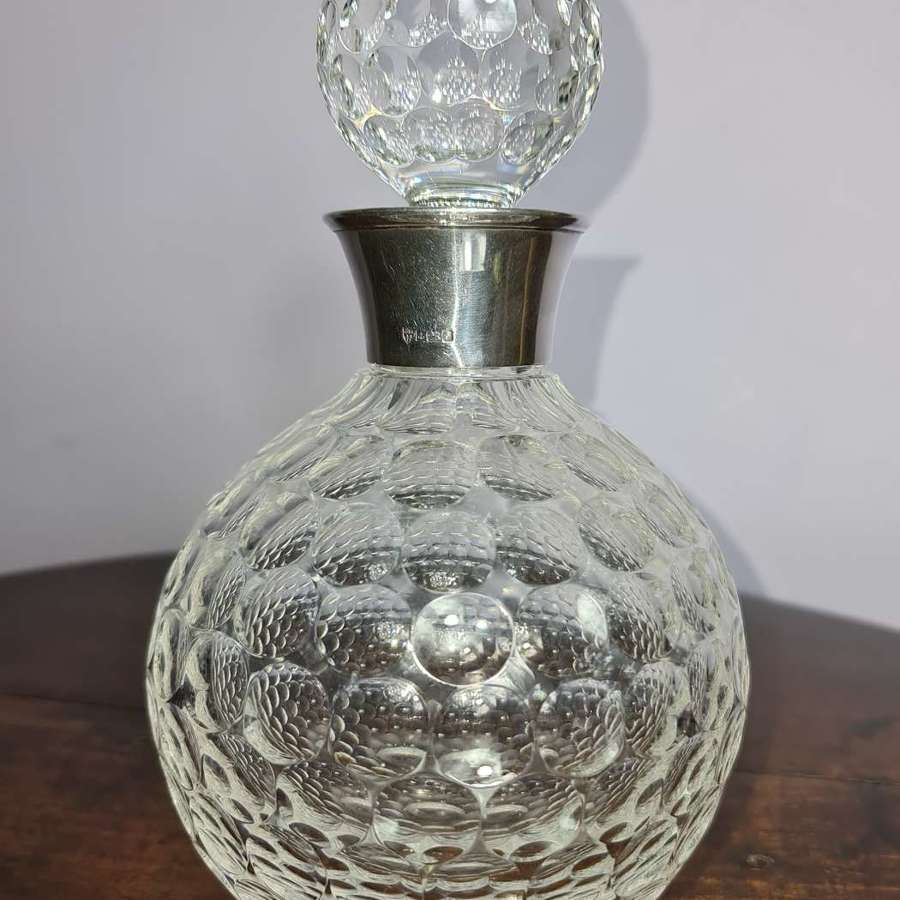 Globe shaped Dimpled Decanter with silver neck