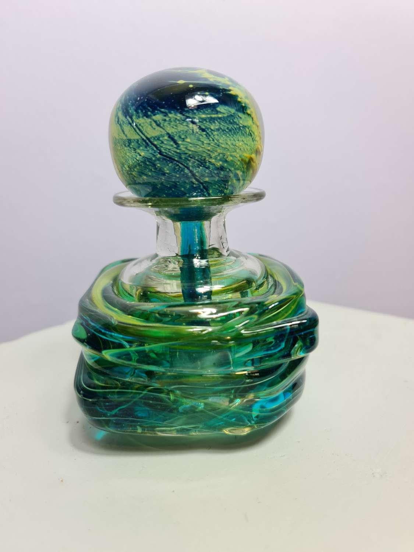 Mdina Glass Strapped Stoppered Bottle c1970's