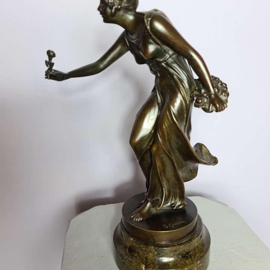 'The Flower Seller' by Austrian  Sculptor Rudolph Kuchler 1910