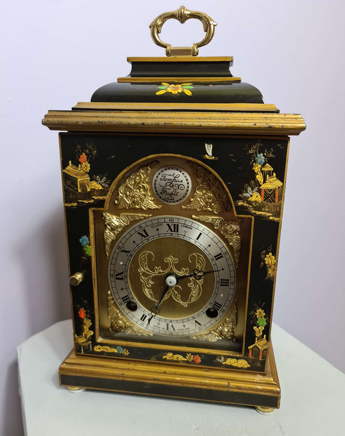 Quality Lacquered Bracket Clock by Elliott of London